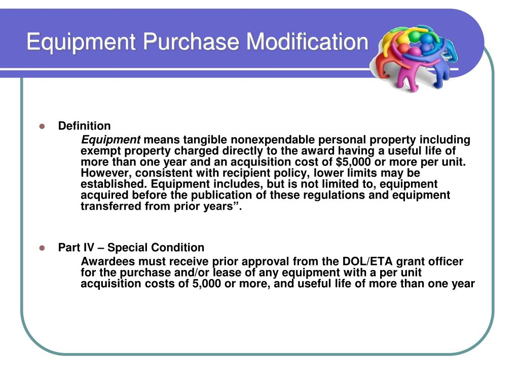 Equipment Purchase Modification