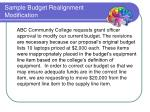 sample budget realignment modification