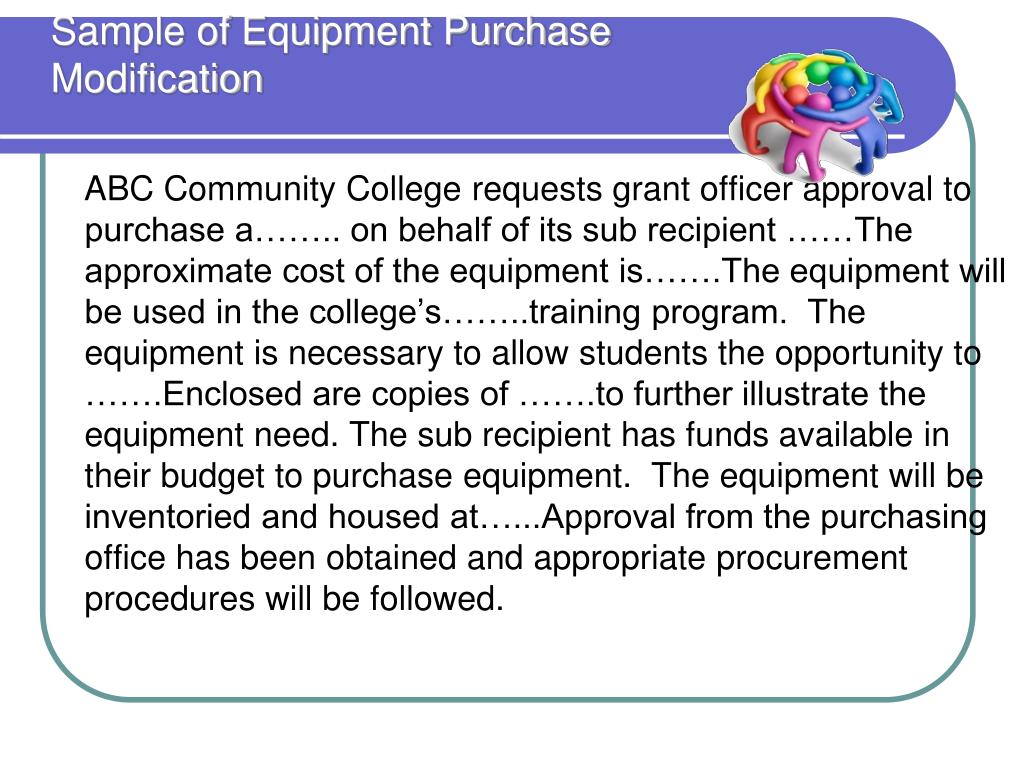 Sample of Equipment Purchase