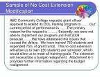 sample of no cost extension modification