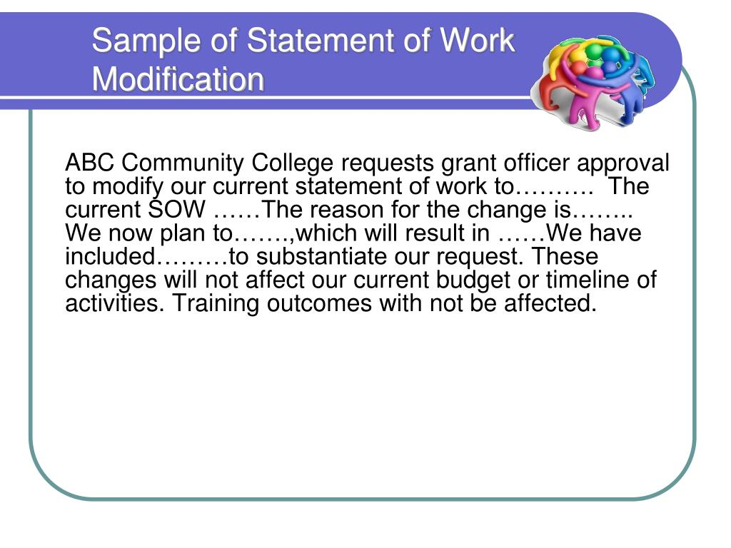 Sample of Statement of Work Modification