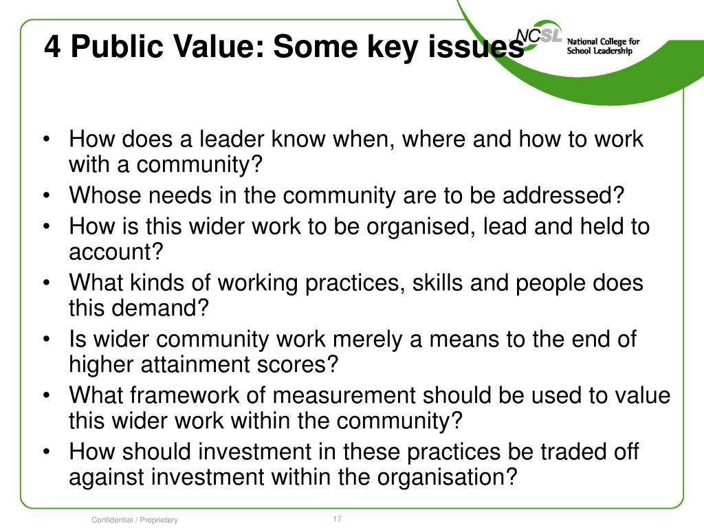 4 Public Value: Some key issues