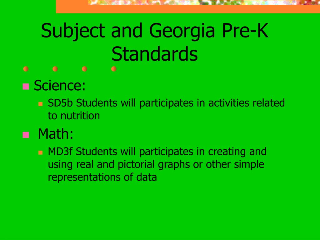 Subject and Georgia Pre-K Standards