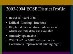2003 2004 ecse district profile