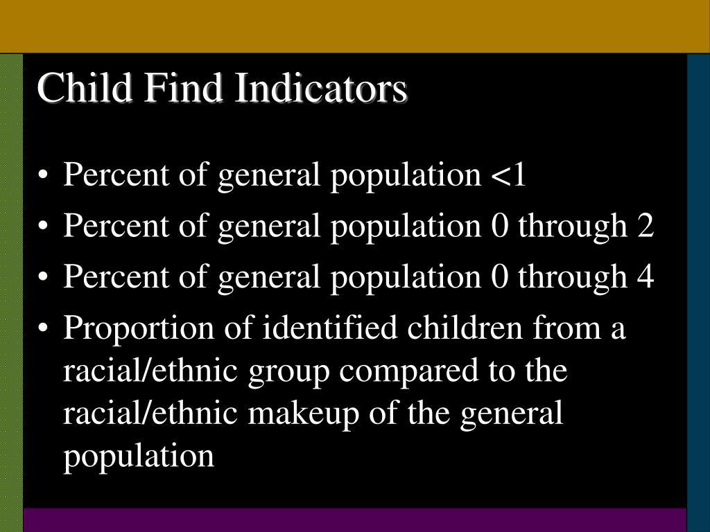 Child Find Indicators