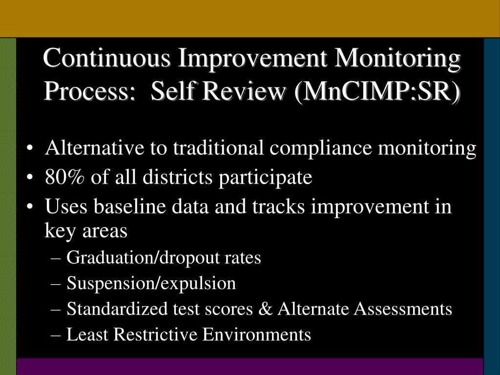 Continuous Improvement Monitoring Process:  Self Review (MnCIMP:SR)