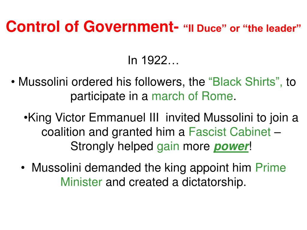 Control of Government-