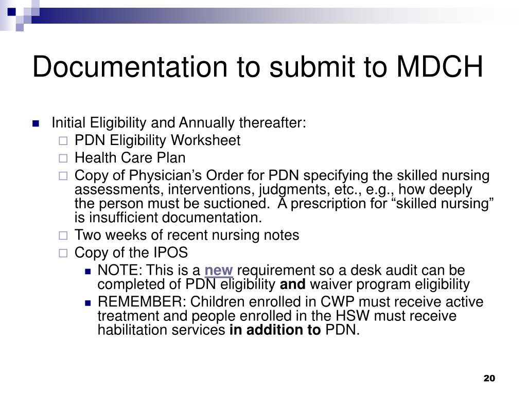 Documentation to submit to MDCH