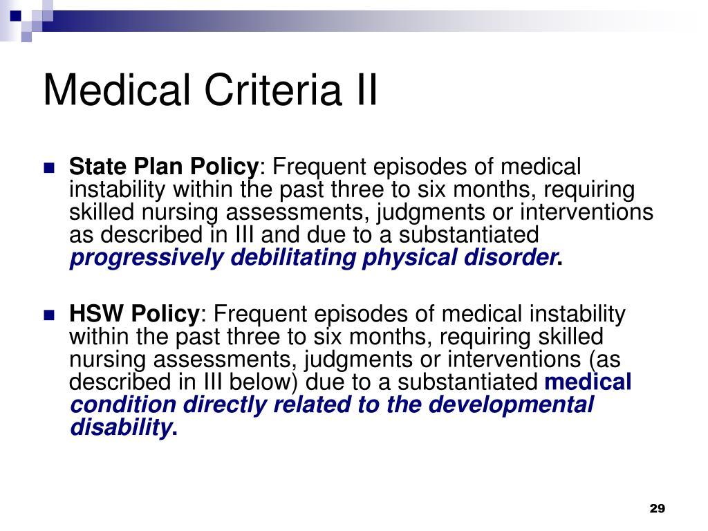 Medical Criteria II