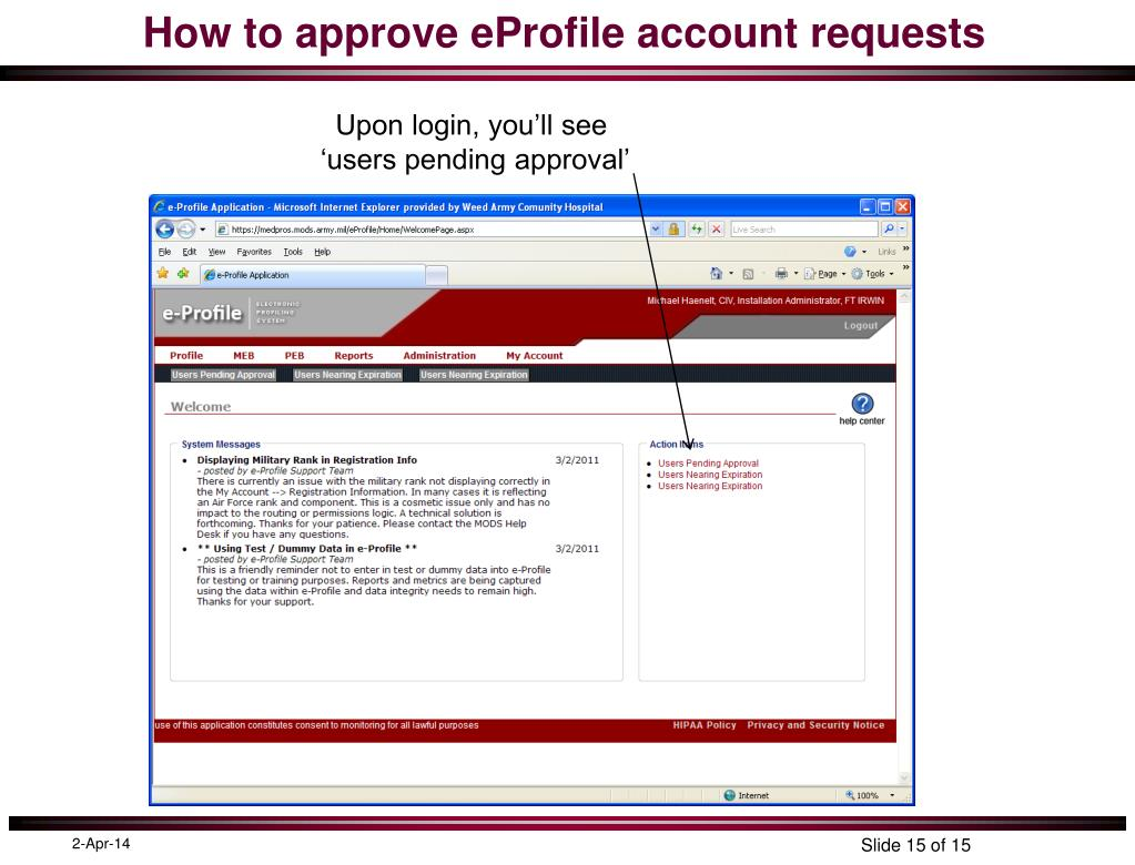 How to approve eProfile account requests