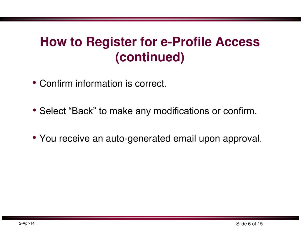 How to Register for e-Profile Access