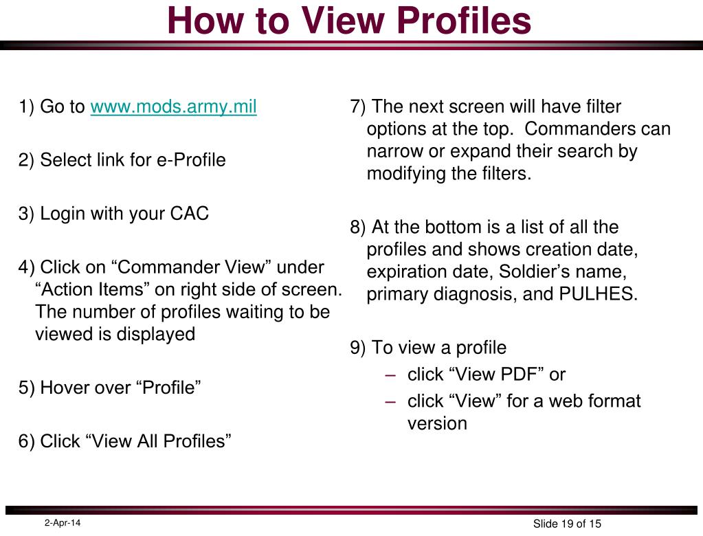 How to View Profiles