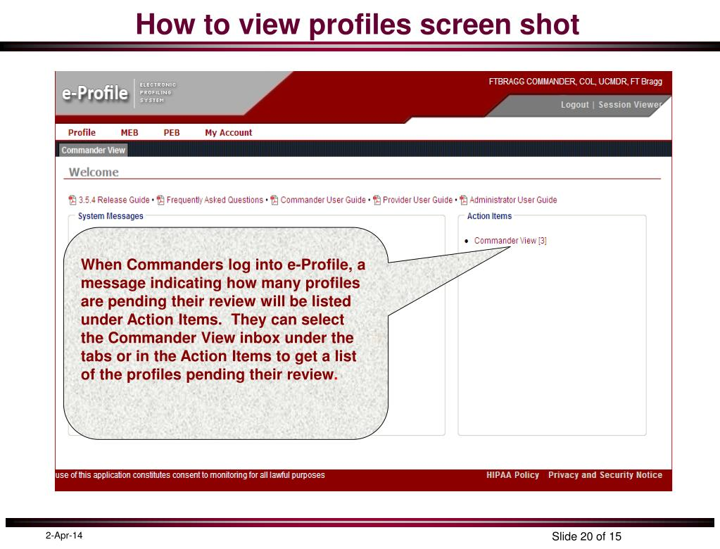 How to view profiles screen shot