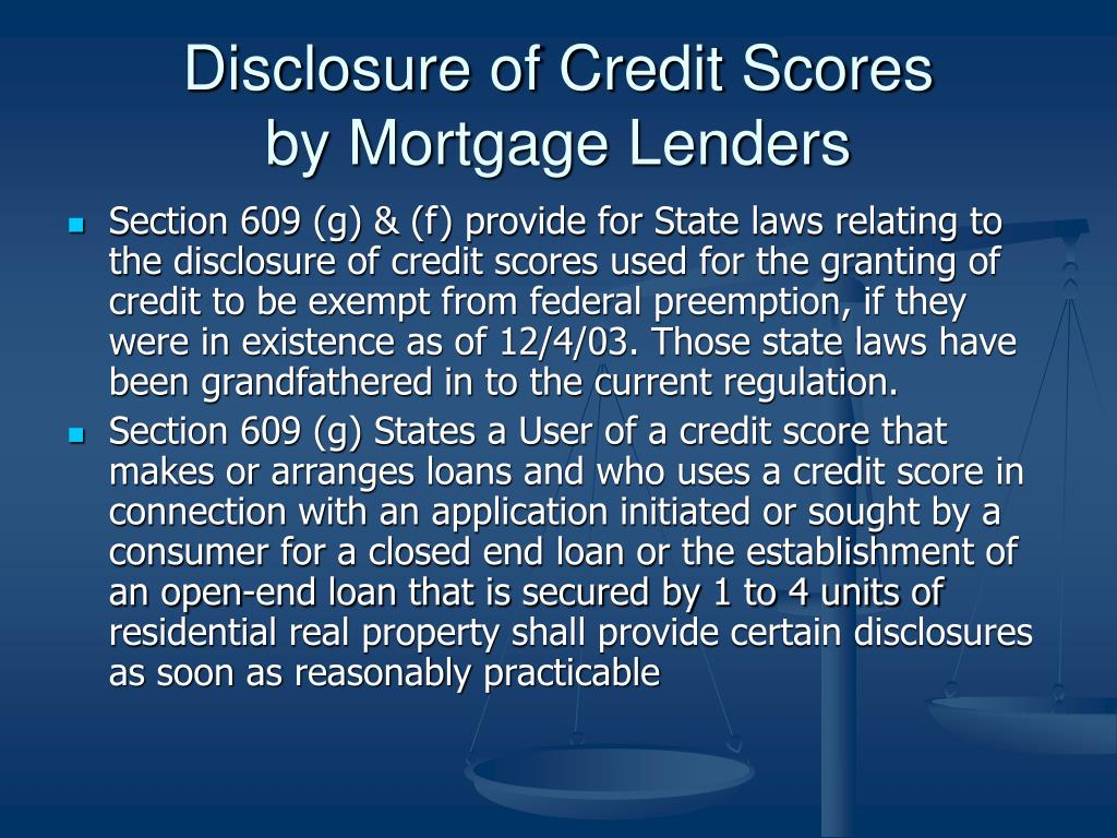 Disclosure of Credit Scores