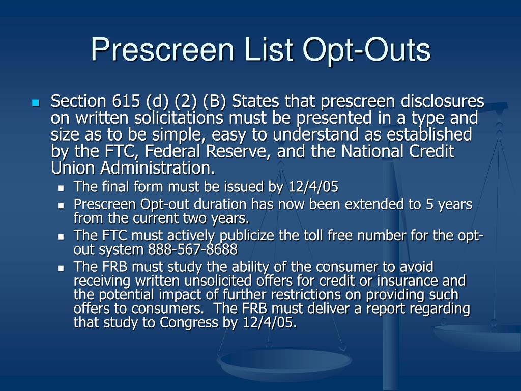 Prescreen List Opt-Outs