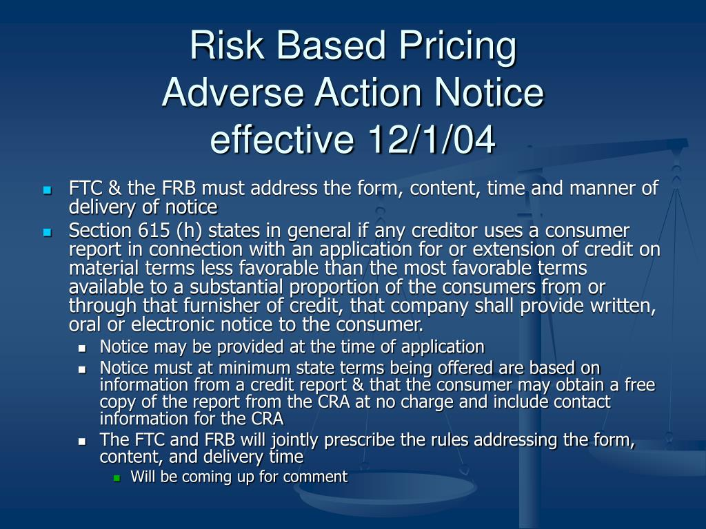 Risk Based Pricing