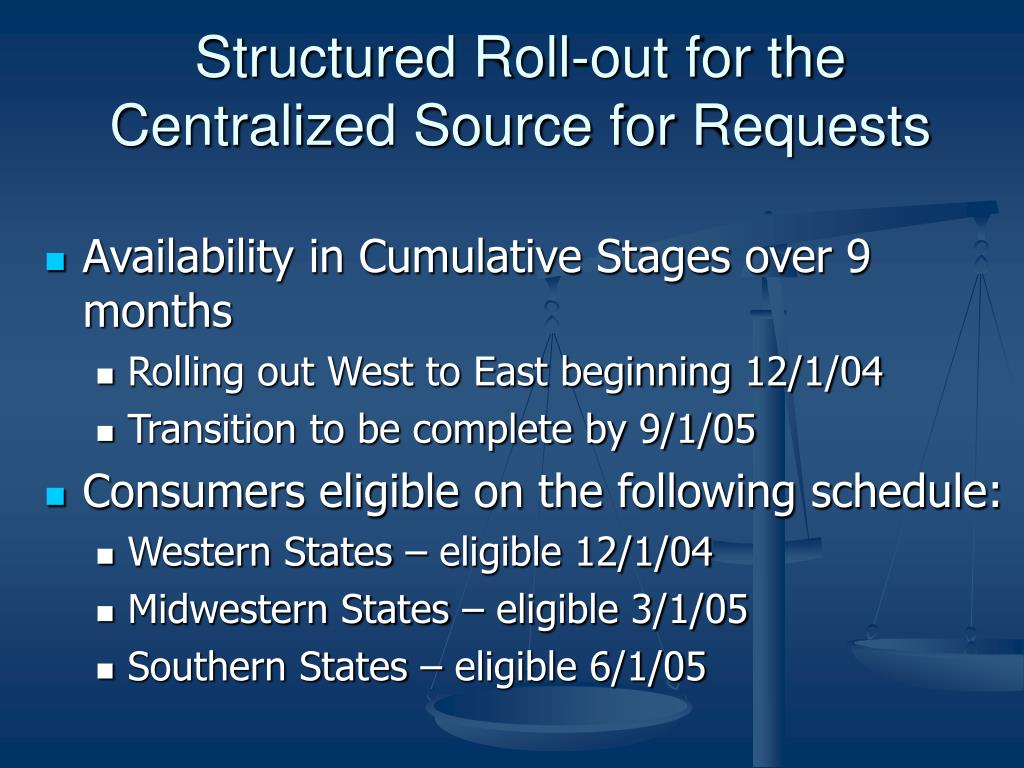 Structured Roll-out for the Centralized Source for Requests