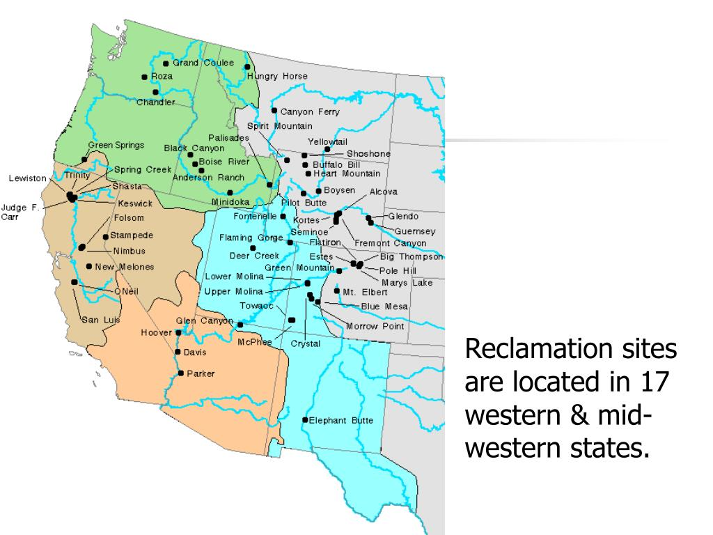 Reclamation sites are located in 17 western & mid-western states.