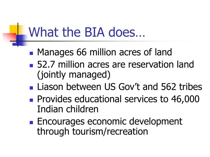 What the bia does