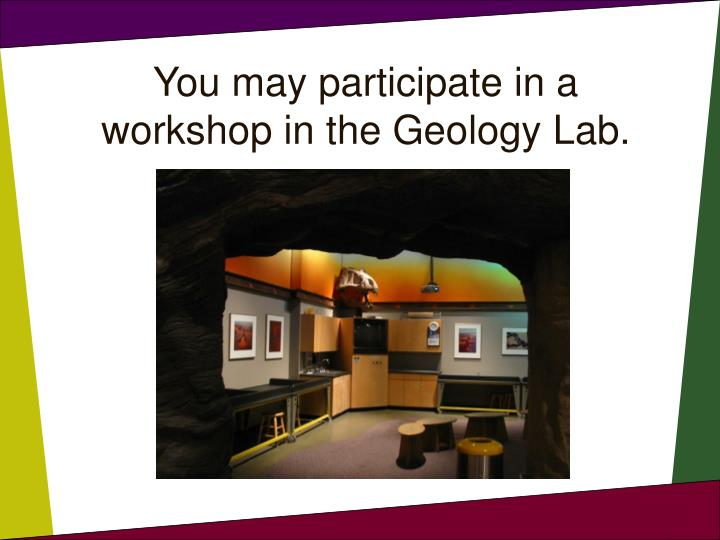 You may participate in a workshop in the Geology Lab.