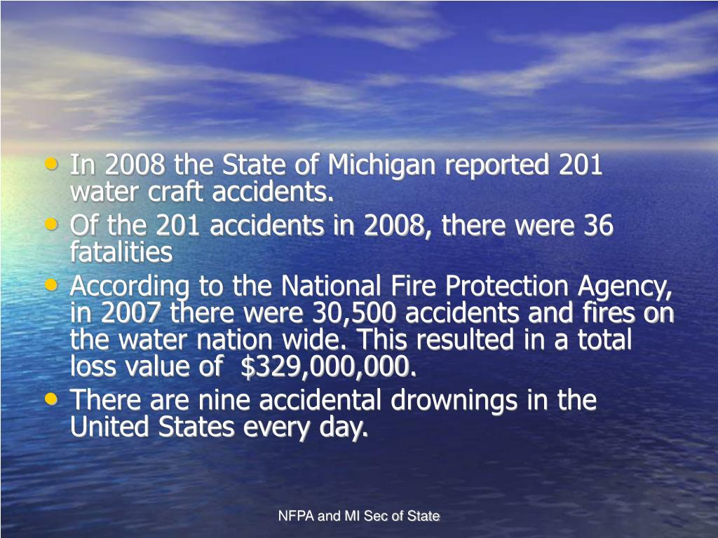 In 2008 the State of Michigan reported 201 water craft accidents.