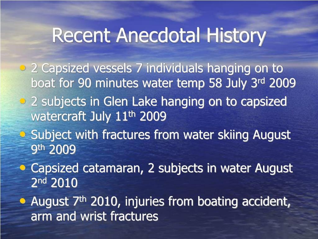 Recent Anecdotal History