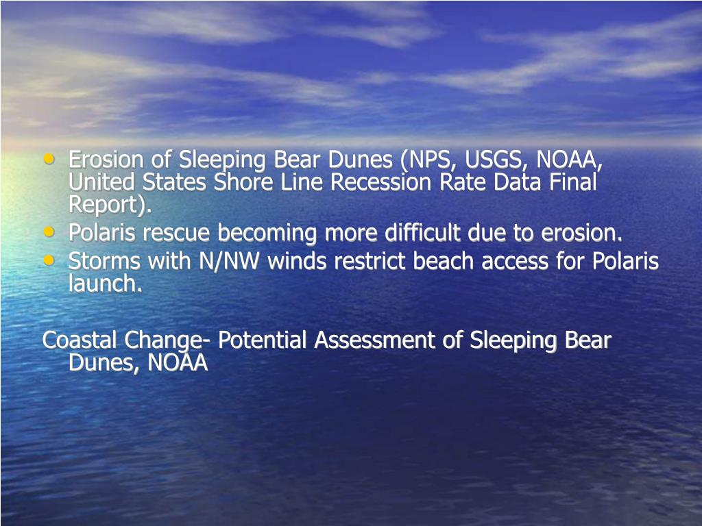 Erosion of Sleeping Bear Dunes (NPS, USGS, NOAA, United States Shore Line Recession Rate Data Final Report).