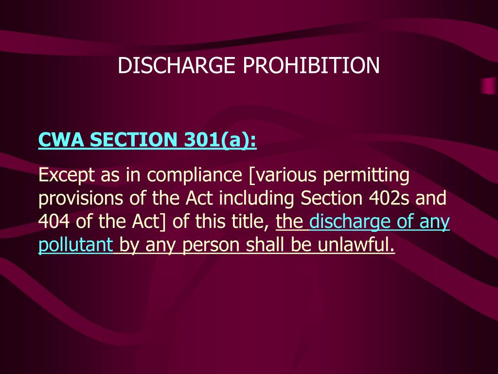DISCHARGE PROHIBITION