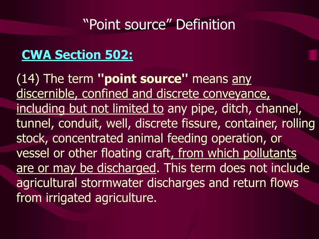 """Point source"" Definition"