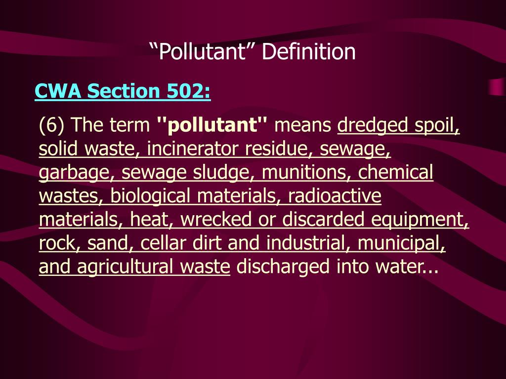 """Pollutant"" Definition"