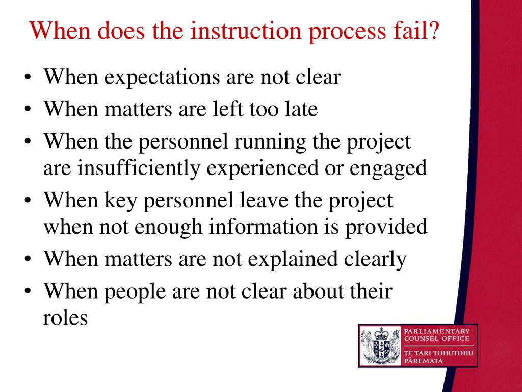 When does the instruction process fail?