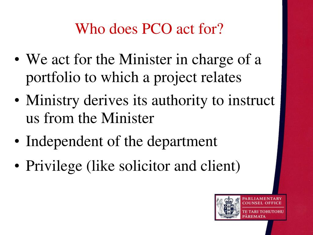 Who does PCO act for?