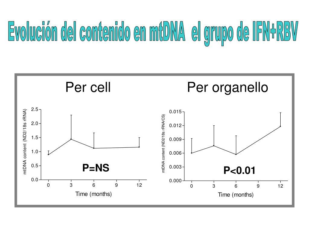 Evolución del contenido en mtDNA  el grupo de IFN+RBV