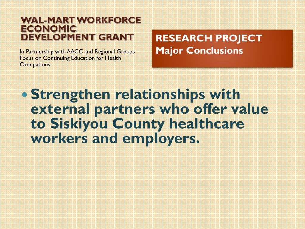 WAL-MART WORKFORCE ECONOMIC DEVELOPMENT GRANT