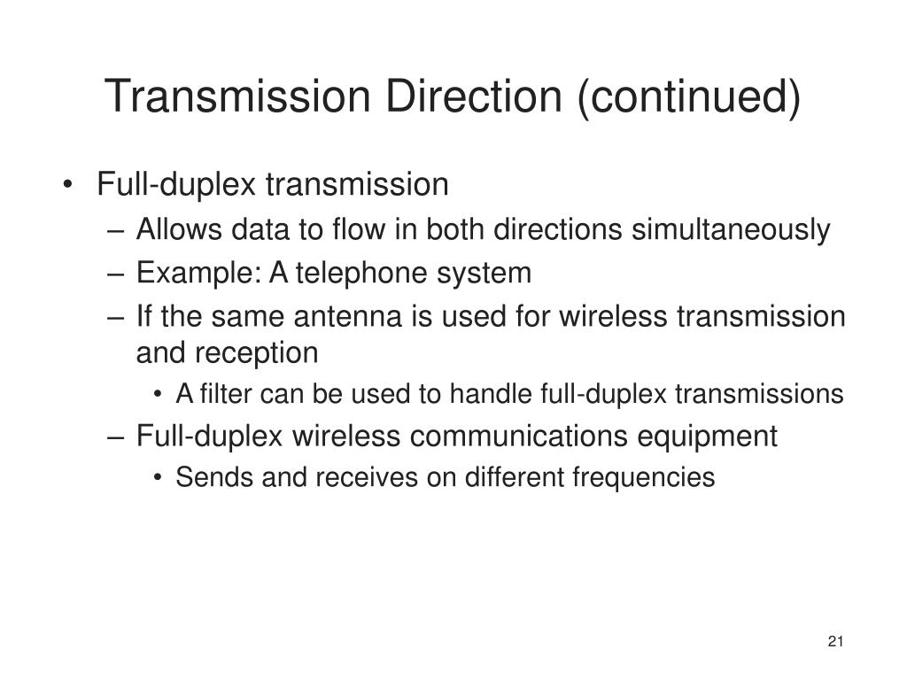 Transmission Direction (continued)