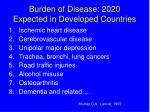 burden of disease 2020 expected in developed countries