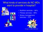 what kinds of services do nc mds want to provide in hospital