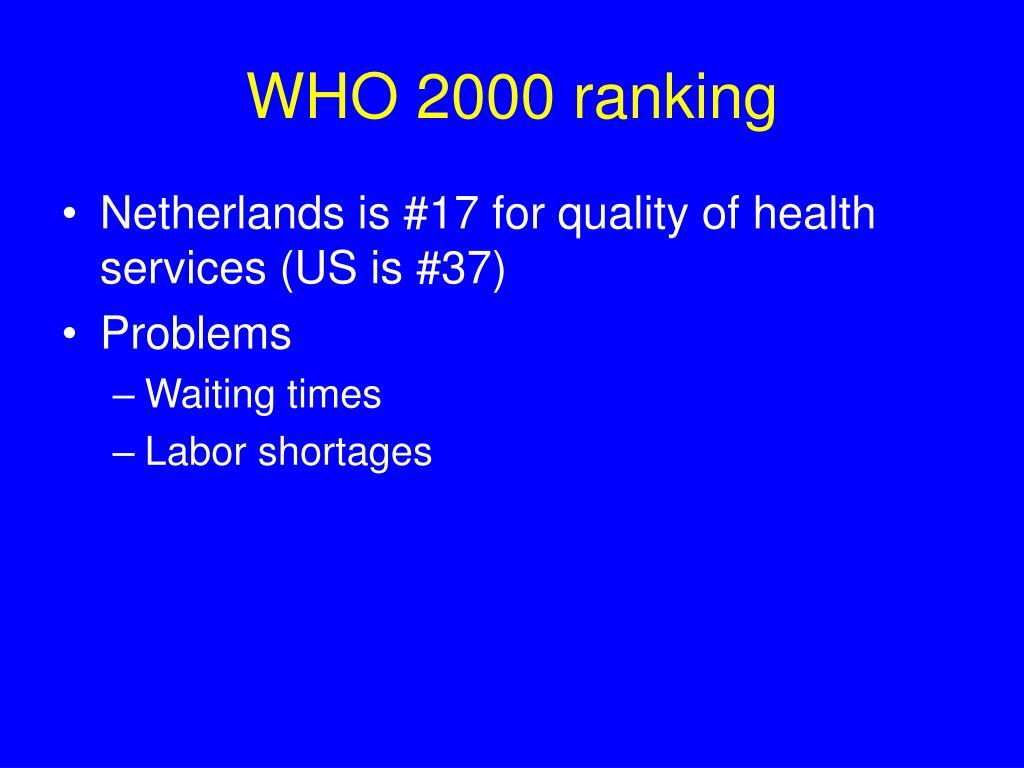 WHO 2000 ranking