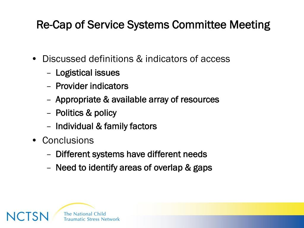 Re-Cap of Service Systems Committee Meeting