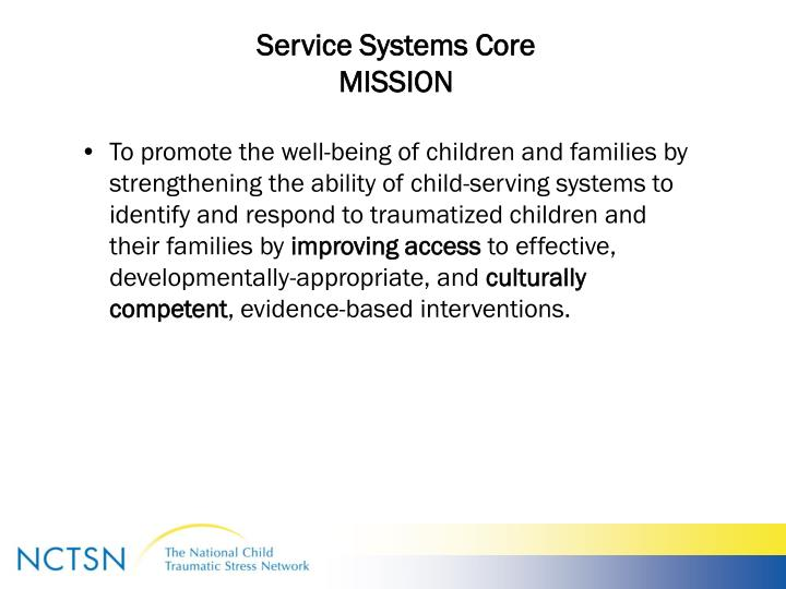 Service systems core mission
