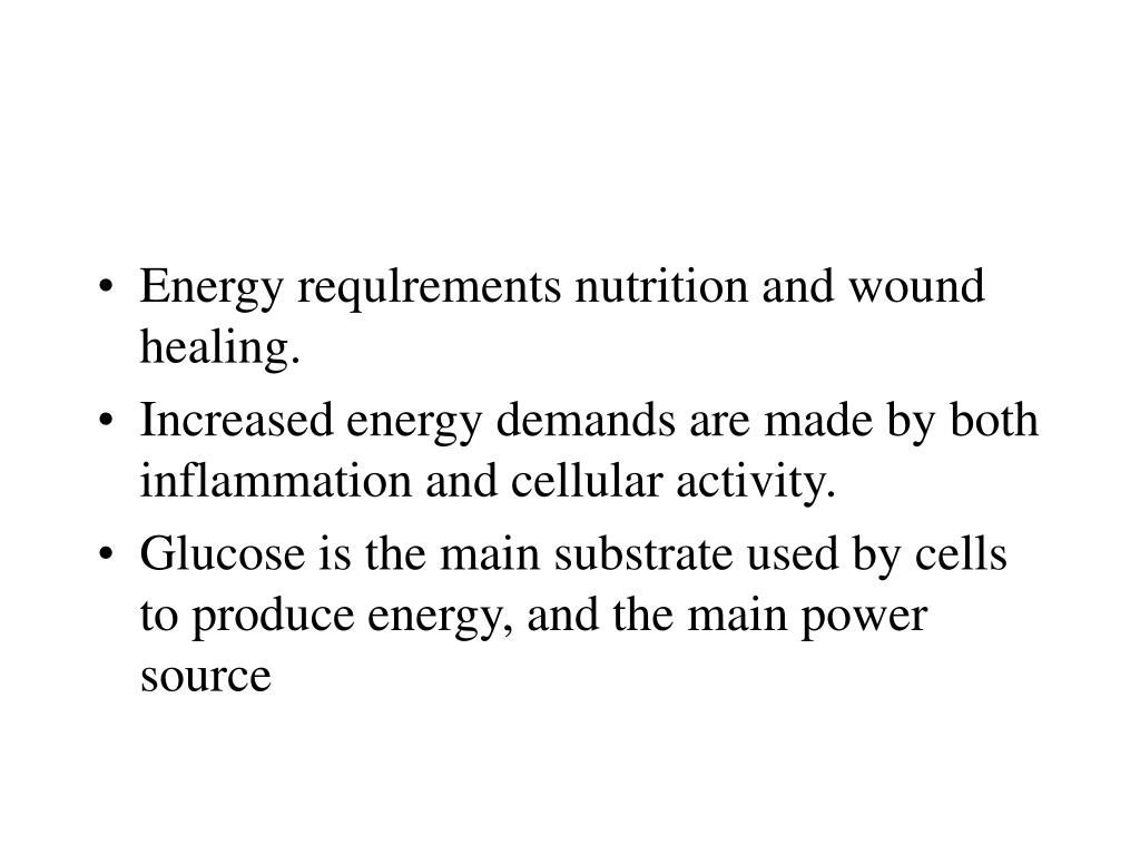 Energy requlrements nutrition and wound healing.