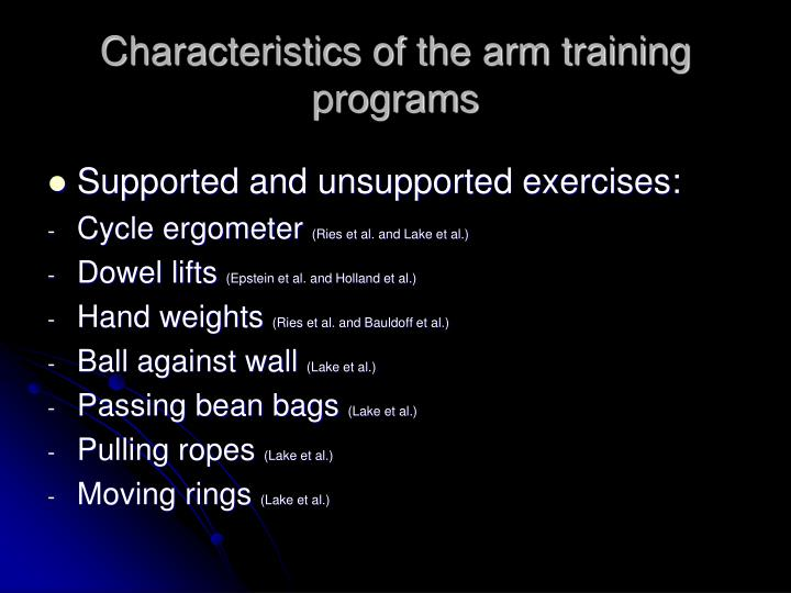 Characteristics of the arm training programs