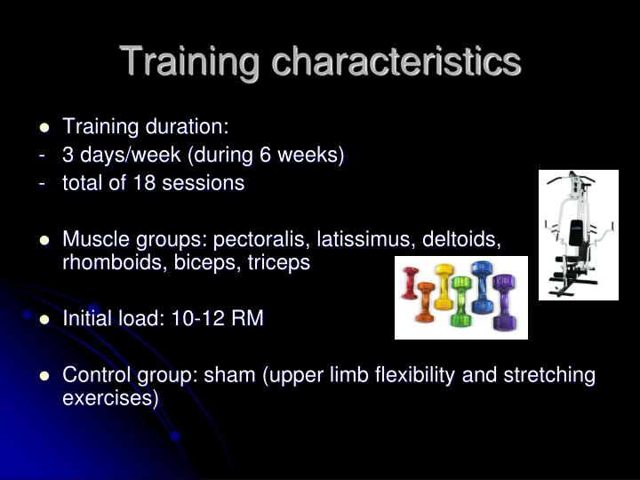 Training characteristics