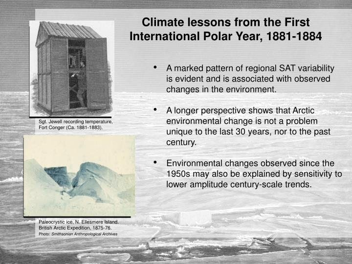 Climate lessons from the First International Polar Year, 1881-1884