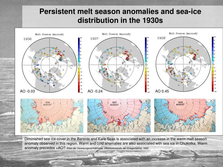 Persistent melt season anomalies and sea-ice distribution in the 1930s