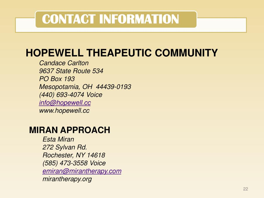 HOPEWELL THEAPEUTIC COMMUNITY
