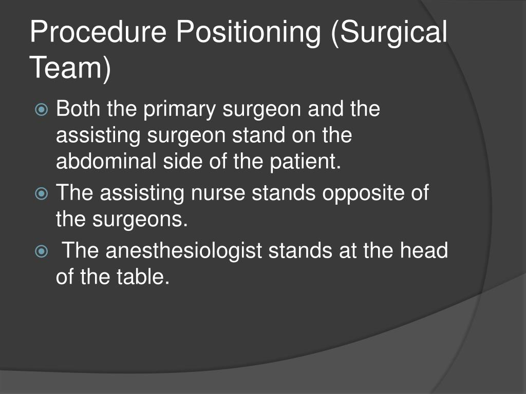 Procedure Positioning (Surgical Team)