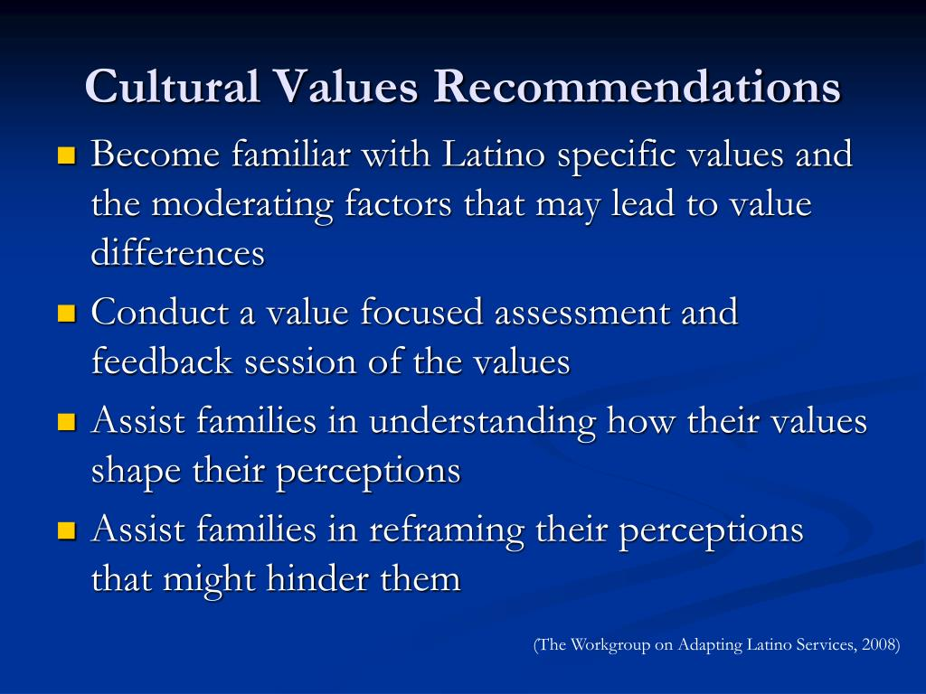 Cultural Values Recommendations