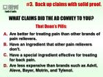 3 back up claims with solid proof
