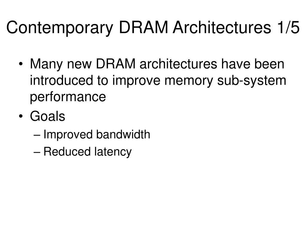 Contemporary DRAM Architectures 1/5